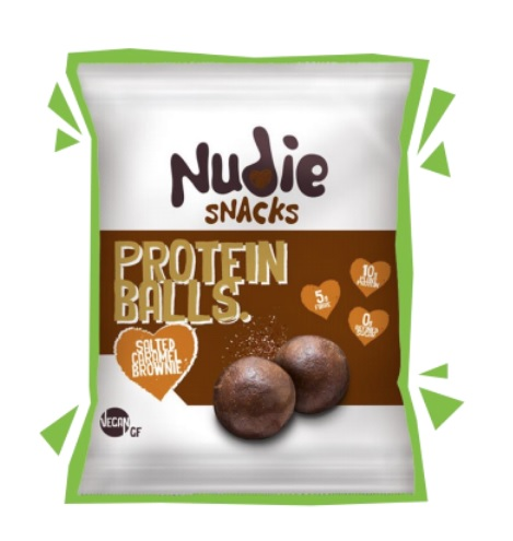 Nudie Snacks Protein Balls  Salted Carmel Brownie